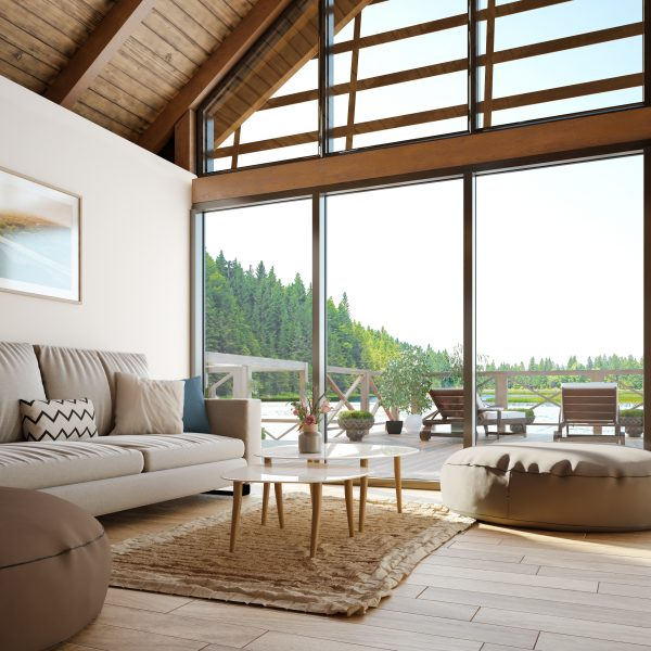Lake house interior.